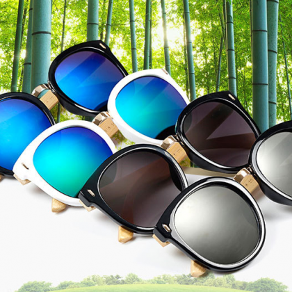 Round Retro Sunglasses Coating Sung..