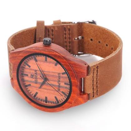 Red Wooden Bamboo Watch Fashion Wat..