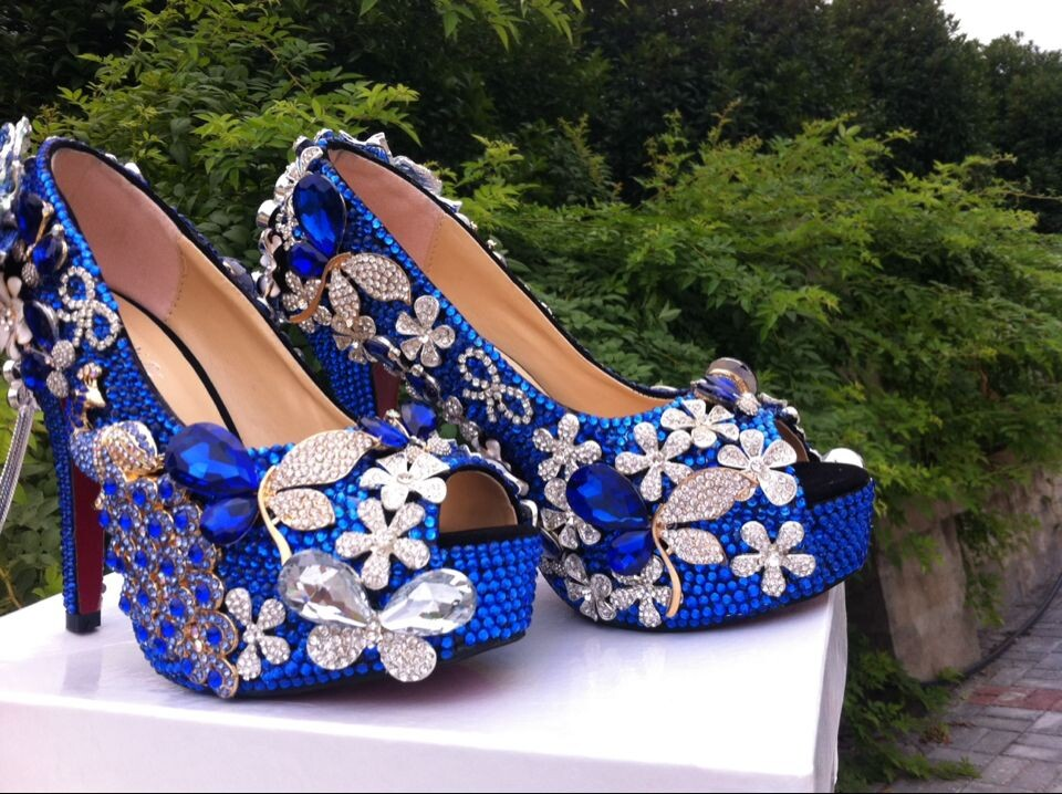 1ae7dbc8cd Luxury Peacock Blue Floral Diamond Bridal Weddding Shoes High Heels  Rhinestone Platform Prom Pumps