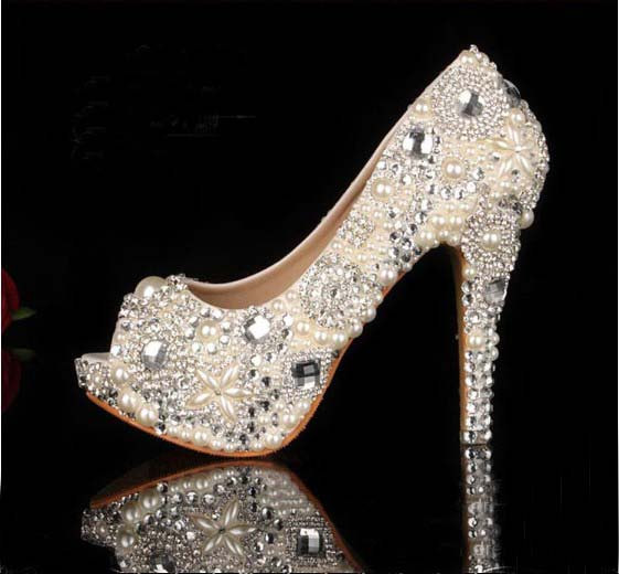 2015 Unique Ivory Pearl Rhinestone Wedding Dress Shoes