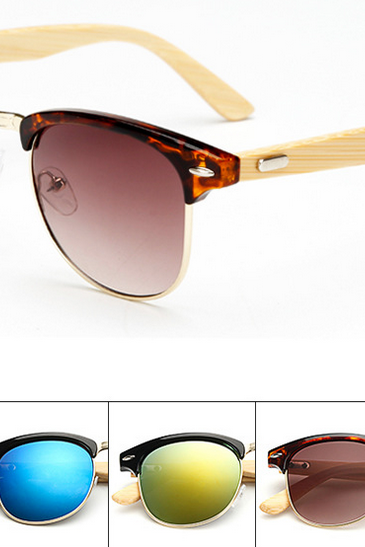 0f5f81473bb72 Half Frame Metal Nose Bridge Glasses Bamboo Leg Sunglasses UV400 Retro  Glasses