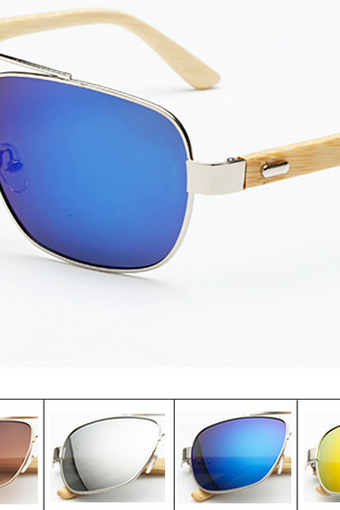 Metal Nose Bridge Glasses Handmade Natural Bamboo Leg Sunglasses UV400 Retro Glasses