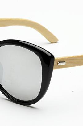 Oval Frame Glasses Handmade Natural Bamboo Leg Sunglasses UV400 Retro Glasses