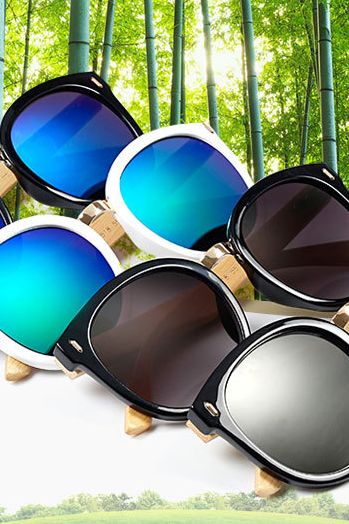 Round Retro Sunglasses Coating Sunglasses Fishing Glasses Bamboo Leg Sunglasses UV400