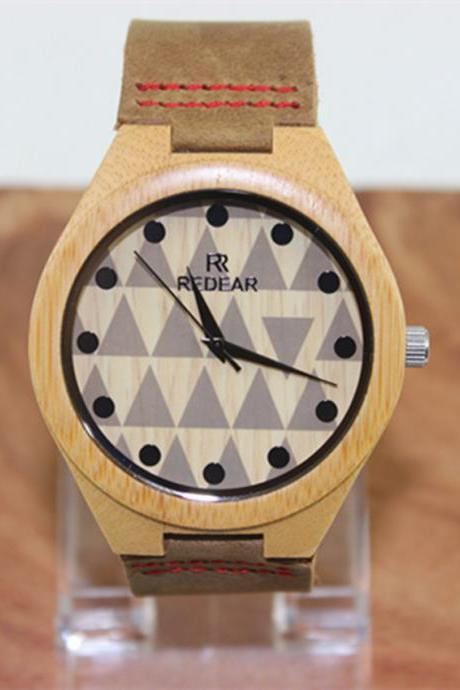 Fashion Lovers Triangle Dial Bamboo Table Really Belt Watch
