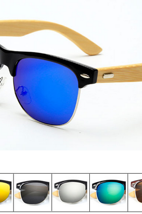 PC Classic Sun Glasses Resin Frame Handmade Natural Bamboo Leg Sunglasses UV400